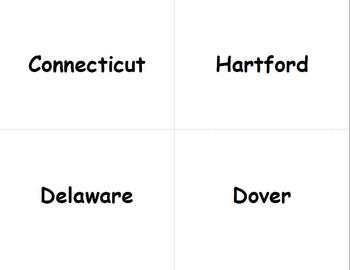 States and Capitals Cards Flash Cards to use with your Common Core Activities