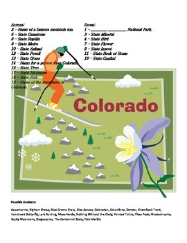 States and Capitals - Colorado State Symbols Crossword Puzzle