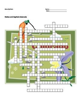 States and Capitals - Colorado State Symbols Crossword Puzzle