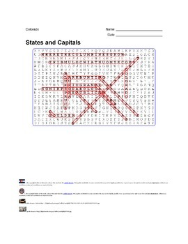 States and Capitals - Colorado State Symbols Wordsearch Puzzle