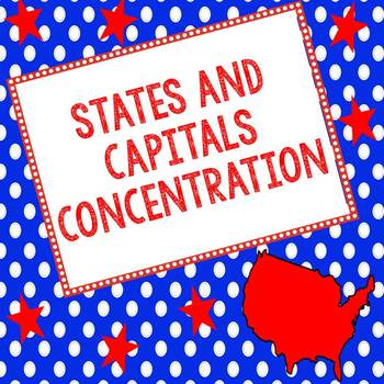 States and Capitals Concentration Matching Game