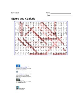 States and Capitals - Connecticut State Symbols Wordsearch Puzzle