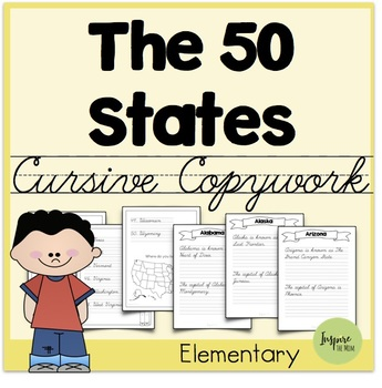 States and Capitals Cursive Copywork