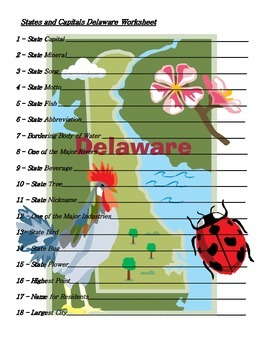 States and Capitals - Delaware State Symbols Crossword Puzzle