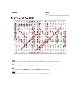 States and Capitals - Delaware State Symbols Wordsearch Puzzle