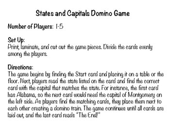 States and Capitals Domino Game