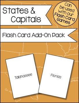 States and Capitals Flash Card Add-On Pack