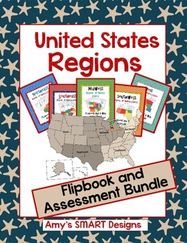United States Regions States  and Capitals Flipbook and Assessment Bundle