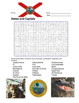 States and Capitals - Florida State Symbols Wordsearch Puzzle