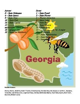 States and Capitals - Georgia State Symbols Crossword Puzzle