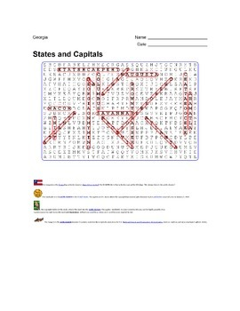 States and Capitals - Georgia State Symbols Wordsearch Puzzle