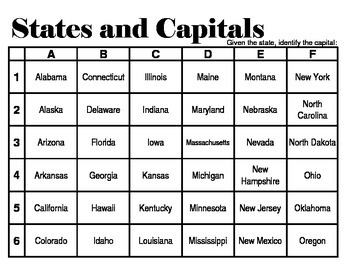 States and Capitals Grid Games