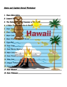 States and Capitals - Hawaii State Symbols Crossword Puzzle