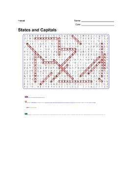 States and Capitals - Hawaii State Symbols Wordsearch Puzzle