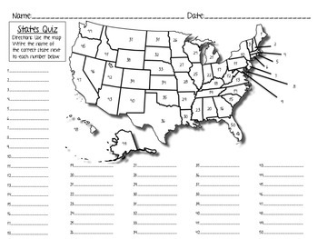 States Quiz/Test & Study Sheet, States and Capitals: I have, who has?