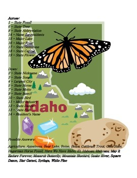 States and Capitals - Idaho State Symbols Crossword Puzzle
