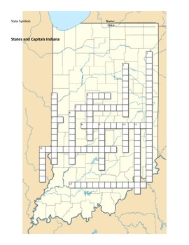 States and Capitals - Indiana State Symbols Crossword Puzzle