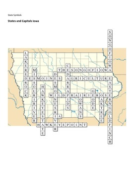 States and Capitals - Iowa State Symbols Crossword Puzzle