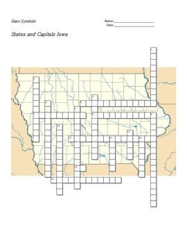 States and Capitals - Iowa State Symbols Crossword Puzzle