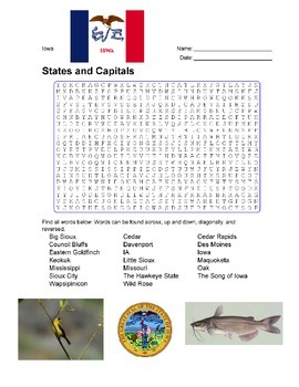 States and Capitals - Iowa State Symbols Wordsearch Puzzle