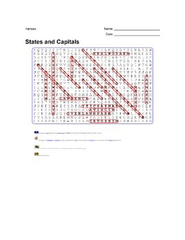 States and Capitals - Kansas State Symbols Wordsearch Puzzle