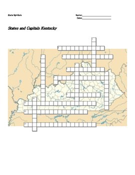 States and Capitals - Kentucky State Symbols Crossword Puzzle