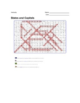 States and Capitals - Kentucky State Symbols Wordsearch Puzzle