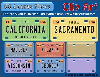 States and Capitals License Plate Clip Art