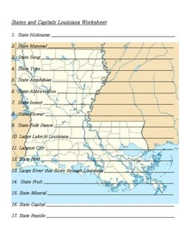 States and Capitals - Louisiana State Symbols Crossword Puzzle