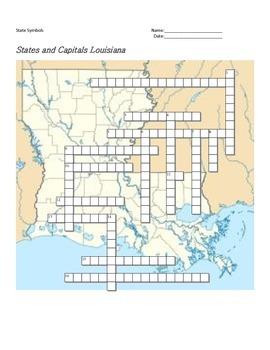 States and Capitals - Louisiana State Symbols Crossword Puzzle
