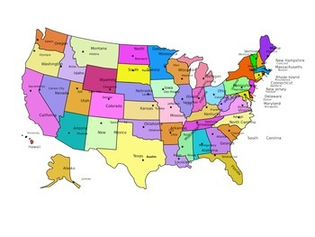 States and Capitals Lyrics, Maps, Printing Practice - Kath
