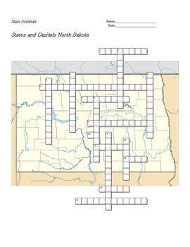 States and Capitals - North Dakota State Symbols Crossword Puzzle