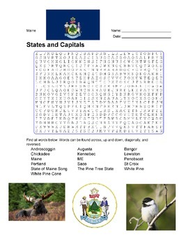 States and Capitals - Maine State Symbols Wordsearch Puzzle