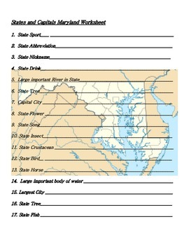 States and Capitals - Maryland State Symbols Crossword Puzzle