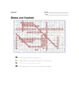 States and Capitals - Maryland State Symbols Wordsearch Puzzle