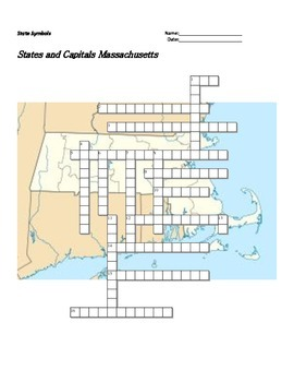 States and Capitals - Massachusetts State Symbols Crossword Puzzle
