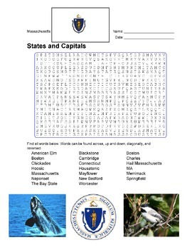 States and Capitals - Massachusetts State Symbols Wordsearch Puzzle
