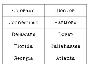 States and Capitals Match Game