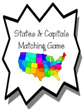 States and Capitals Matching Game.  History Center.  Us Map States and Capitals