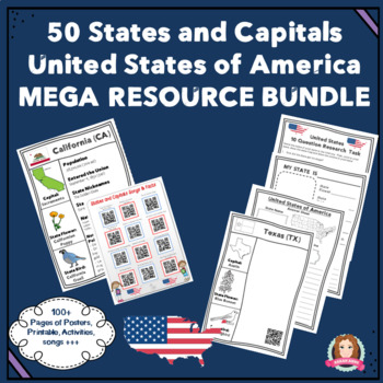 States and Capitals Mega Resource & Activity Bundle USA #5