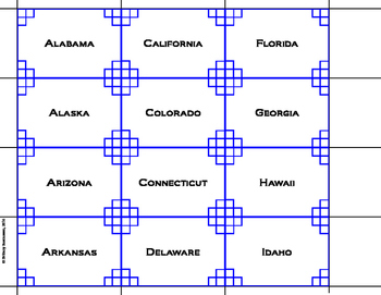 States and Capitals Memory Game