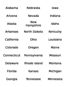 States and Capitals Memory Game Cards