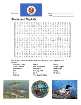 States and Capitals - Minnesota State Symbols Wordsearch Puzzle