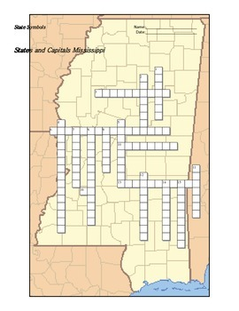 States and Capitals - Mississippi State Symbols Crossword Puzzle