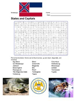 States and Capitals - Mississippi State Symbols Wordsearch Puzzle