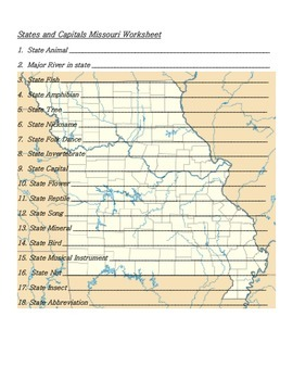 States and Capitals - Missouri State Symbols Crossword Puzzle