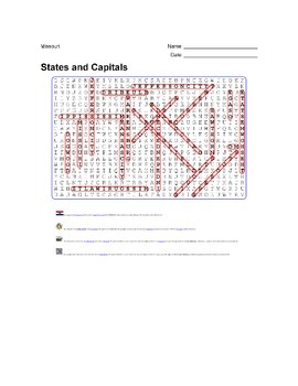 States and Capitals - Missouri State Symbols Wordsearch Puzzle