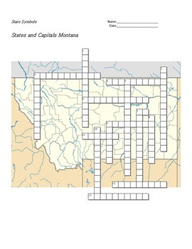 States and Capitals - Montana State Symbols Crossword Puzzle