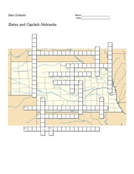 States and Capitals - Nebraska State Symbols Crossword Puzzle