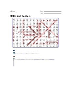 States and Capitals - Nebraska State Symbols Wordsearch Puzzle